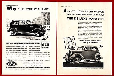 The  FORD DOUBLE ENTRANCE SALOON  (1936 & 37 Advertisements x 2)