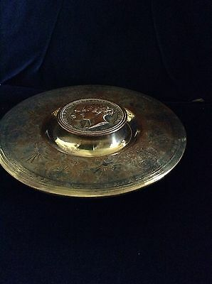 Striking & Very rare Victoria & Albert c1860 Silver Plate On Copper ink well