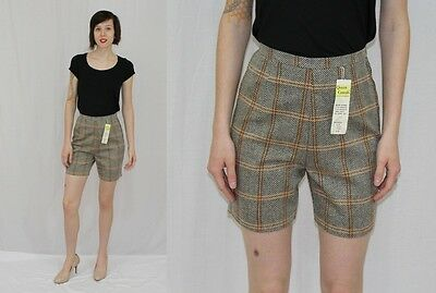 Vintage 60s MOD Brown Orange PLAID High Waist Metal Side Zip Dress Shorts~NOS~S