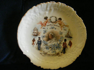 Queen Victoria 1897 Diamond Jubilee Forget Me Not Plate
