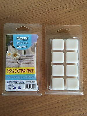 Pack of 8 Fresh Linen Wax Melts *Glade/Yankee Candle/Airwick Compatible*