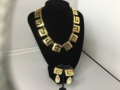 GIVENCHY GOLD TONE GREEK KEY DESIGN NECKLACE AND MATCHING EARINGS c1970's/1980's
