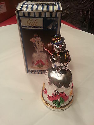 Porcelain Christmas Bell With Snowman For Its Handle & Comes With Original Box