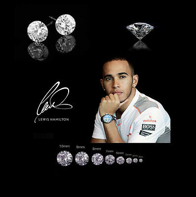 Men's/Boy's Lewis Hamilton White Gold Plated Diamond Crystal Gemstone Earrings
