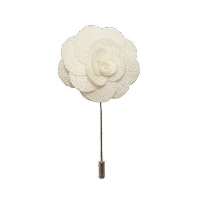 White Handmade Flower/Rose Lapel Pin for wearing with men's suit jacket, blazer,