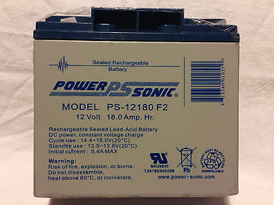 New Genuine Power Sonic PS-12180 F2 Battery 12V 18.0Ah Sealed Lead Acid SLA AGM