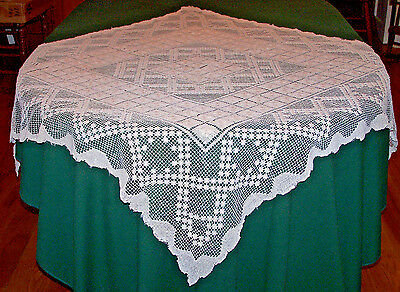 """Vintage Filet Lace Tablecloth, 45"""" Square, Hand Darned, Beautiful Design, 1920"""