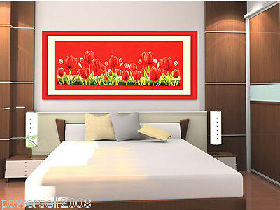 Modern Simplicity Cotton Decoration Frameless Crafts Cross Stitch Red Tulips &$