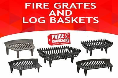 Open Fire Grate Log Coal Wood Basket Holder Black Heavy Duty Cast Iron or Gloves