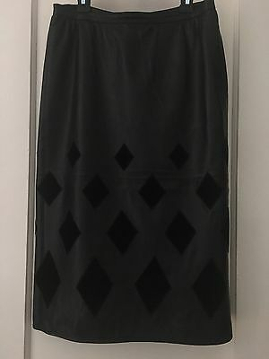 Valentino Black Leather And Velvet Long Pencil Skirt Italy Size 46 Lined