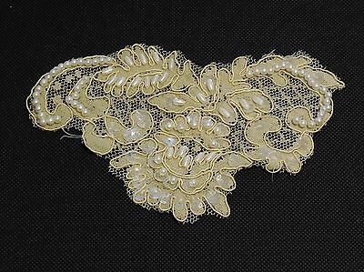 Champagne & beige beaded lace Applique bridal wedding floral lace motif.By piece