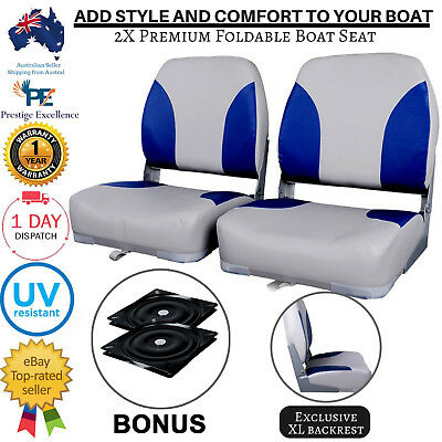 New 2 X Folding Boat Seats Swivel Marine Seat Swivels All Weather Grey Blue Set