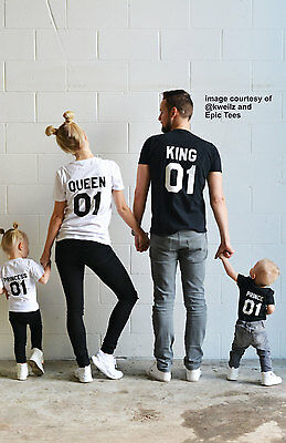 King Queen Princess Prince Love Matching Tee Family Couple Shirts Casual T-Shirt
