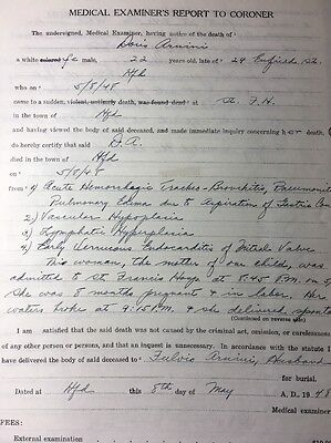 Woman Age 22 In Labor Death Medical Document Handwriting Coroner Doctor Exam
