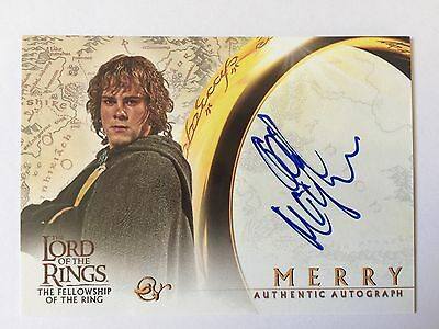 Topps FOTR Lord Of The Rings Dominic Monaghan / Merry Autograph Card LOTR Auto