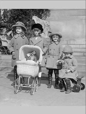 """*Postcard-""""Little Girls Play with Doll Stroller"""" ...Classic..."""
