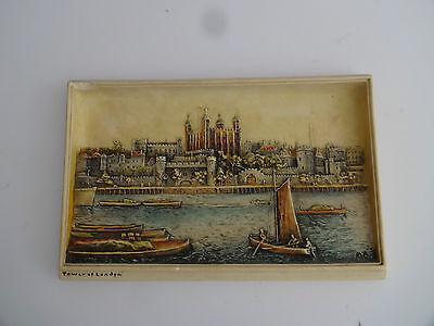 "Vintage Chalk Wall Plaque -Bossons Ivorex-""Tower of London"""