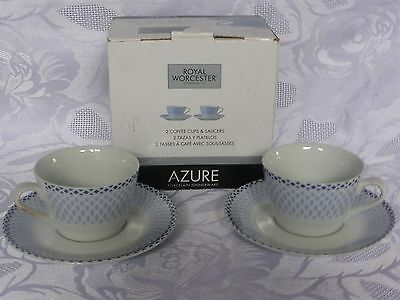 Royal Worcester Azure - 2 Coffee Cups & Saucers