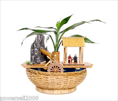 Neoclassical L 27*W 23*H 20 CM Wood Color Bamboo Rockery Flowing Water Fountain