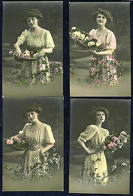 4 x hand tinted RP postcards of young lady. printed in Germany