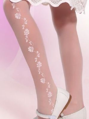 Girl White Patterned Tights Flowers Wedding Communion Bridesmaids Hosiery 20 DEN