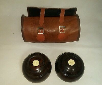 2 x Crown Green polished wooden Bowls in MITRE CARRY CASE 2 FULL BIAS. K98