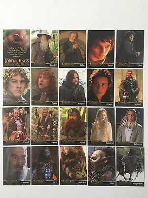 Topps Lord Of The Rings LOTR FOTR Fellowship AUSTRALIAN Exc Preview Set C1 - C20