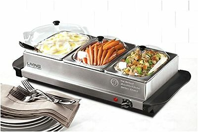 Living Collection 3 Station Stainless Steel Buffet Server & Warming Tray New!!!