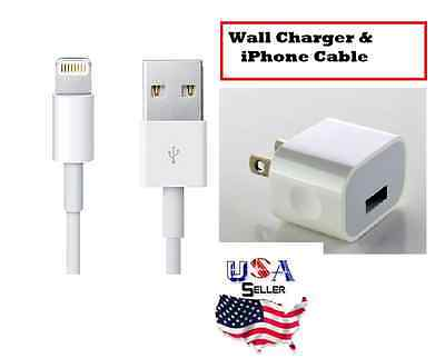 Wall Charger + 3 FT Charging Cable for iPhone 5/5c/5s/6&6S/6&6S Plus/7/7 Plus 8