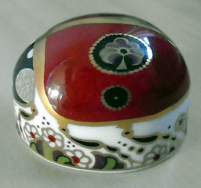 Royal Crown Derby, Paperweight with Gold Stopper -2 Spot Ladybird (Boxed)