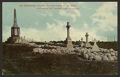 South Africa. Ladysmith. On Spionkop. Monument to the Fallen & Grave Trenches.