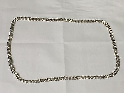 "Sterling 925 Silver Curb Link Chain Necklace 20"" In Length Fully Hallmarked"