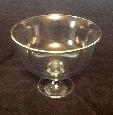Large Clear Glass Footed Bowl With Gold Rim