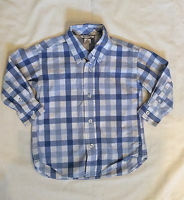 HARTSTRINGS Boys 3T Blue Gingham Checked Long Sleeve Button Front Shirt- EUC