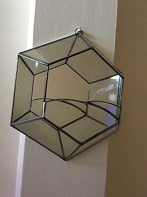 Vintage Wall Hanging Geo Terrarium With A Glass Mirror