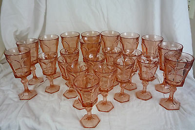 21 Vintage Fostoria Virginia Peach Pink 8 & 4 oz Water / Wine Goblets Glasses