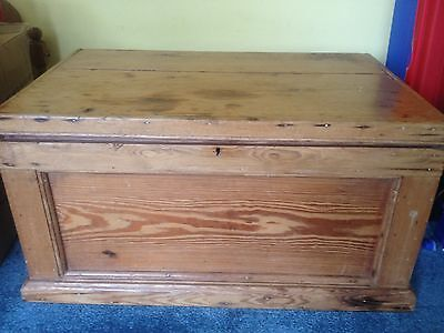 Genuine Antique Victorian Old Blanket Box / Toy Box / Coffee Table - Pitch Pine