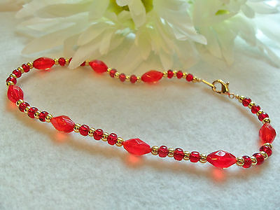"""ANKLE BRACELET RED GLASS BEADS GOLD PLATED BRIGHT RUBY RED 10"""" By J&K Originals"""