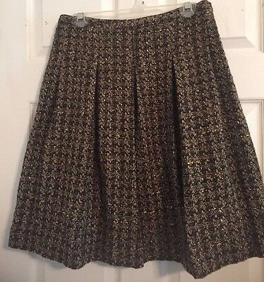 Women's Etcetera Tweed Multi Colored Lined  Skirt Sz. 4 Gray/Taupe/Green/Creme