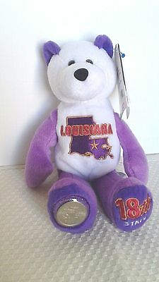"Limited Treasures Collectible 9"" State Quarter Coin Bear Louisiana, 18th State"
