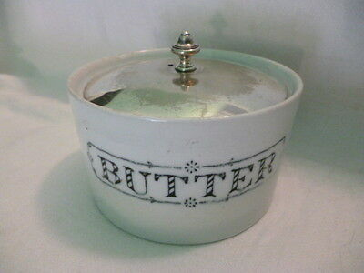 Antique English White Pottery Butter Dish