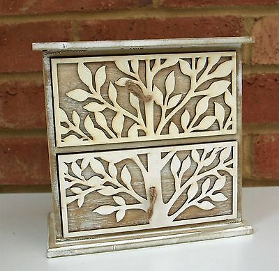 Tree of Life Wooden 2 Drawer Jewellery Trinket Box Vintage Shabby Chic New