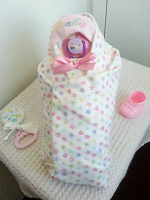 Baby Girl Swaddle Diaper Cake Baby Shower Centerpiece-Pink White Purple Flowers