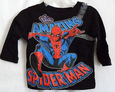Boys 9-12 Months Black The Amazing Spiderman Jump Shirt Nwt ~ Marvel Comics