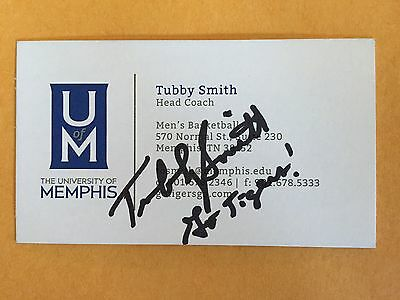 TUBBY SMITH autograph MEMPHIS TIGERS business card signed