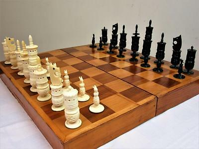 VINTAGE LARGE MEXICAN PULPIT CHESS SET K 125mm + ORG  BOX - BOARD