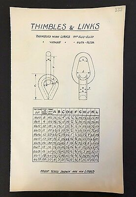 Harland & Wolff,Belfast - 1930's Shipyard Eng. Drawing, THIMBLES & LINKS  (P133)