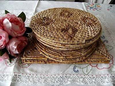 Vintage Rattan/Straw/Reed Dinner Place Mats JobLot 6 Oval, 2 Lrg Round 3 Rectang