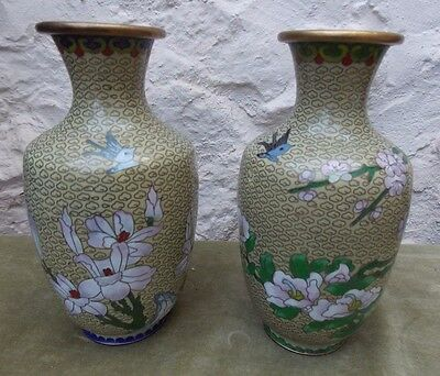 Unmatched Pair of Eastern / Oriental Flower & Bird Design Cloisonne Vases
