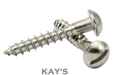 SLOTTED ROUND HEAD WOOD SCREWS A2 STAINLESS STEEL DOME SLOT PAN 3mm 4mm 5mm 6mm